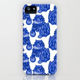Chinese Guardian Lion Statues in Pottery Blue + White iPhone Case