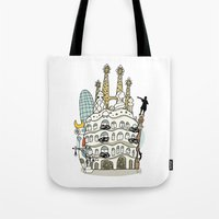 barcelona Tote Bags featuring Barcelona by Jaume Tenes