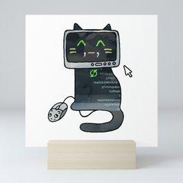 Programmer cat  makes a website Mini Art Print