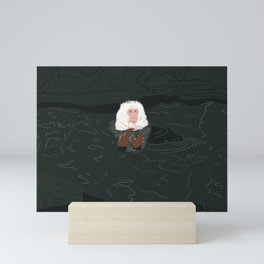 Snow Monkey in Onsen Mini Art Print