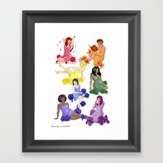 Rainbow Flowers Framed Art Print