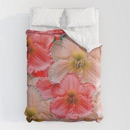 MODERN RED  PINK & CREAM DAYLILIES GARDEN PATTERNS Comforters