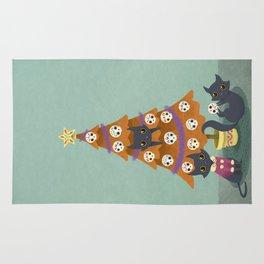 Meowy christmas sugar skulls Rug