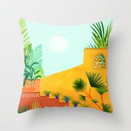 Colorful Garden / Desert Landscape Throw Pillow