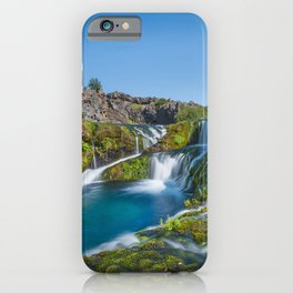 waterfalls cascades spring mountain river Iceland blue clear sky iPhone Case