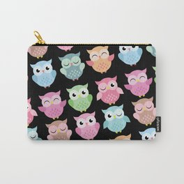 Owls in Pastel Colors with Black Background Carry-All Pouch