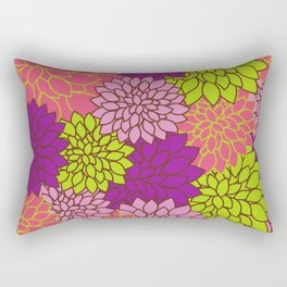 Dahlia Flowers, Blossoms - Pink Purple Green Rectangular Pillow