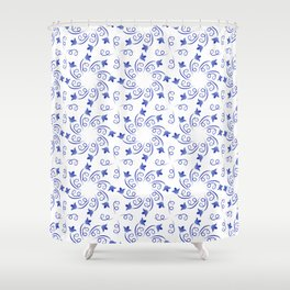 Floral round wreaths of blue color Shower Curtain
