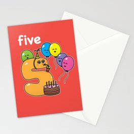 Number 5 birthday Stationery Cards