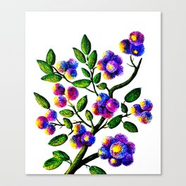 Blue Pink Yelow Flower Branch Clip Art Canvas Print