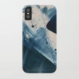 Against the Current [2]: A bold, minimal abstract acrylic piece in blue, white and gold iPhone Case