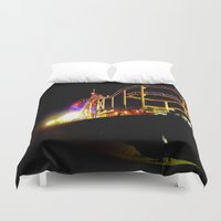 santa monica Duvet Covers featuring Santa Monica Pier by Sa-Foto