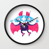 bat Wall Clocks featuring Bat by David Fernández Huerta