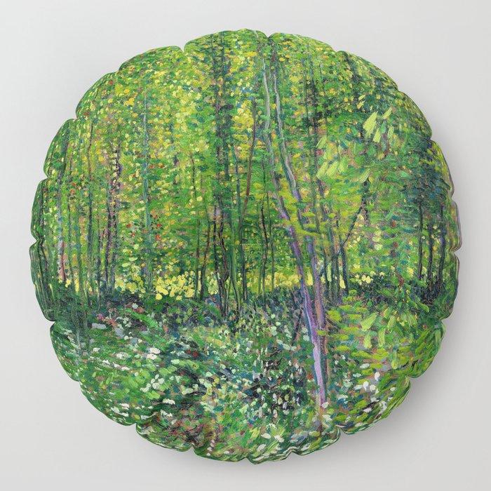 Vincent Van Gogh Trees & Underwood Floor Pillow