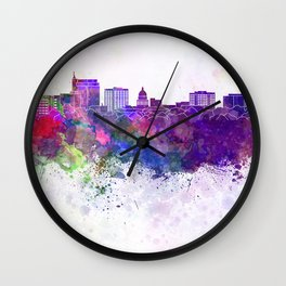 Boise skyline in watercolor background Wall Clock