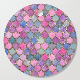 Colorful Pink Mermaid Scales Cutting Board