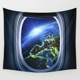 Airplane window with Earth, porthole #4 Wall Tapestry