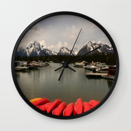 Canoe Meeting At Jackson Lake Wall Clock