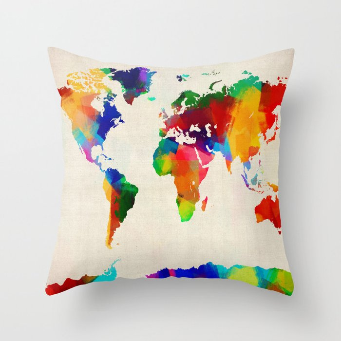 Map of the world map painting throw pillow by artpause society6 map of the world map painting throw pillow gumiabroncs Images