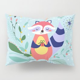 Happy Raccoon Card Pillow Sham