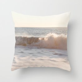 Waves Rolling At Sunset Photo Print   Pastel Seascape Ocean Art   Iceland Nature Travel Photography Throw Pillow