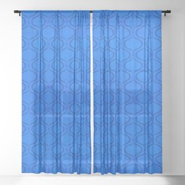 Classic Blue Moroccan Print Sheer Curtain