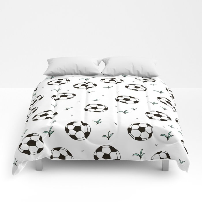 Fun grass and soccer ball sports illustration pattern Comforters