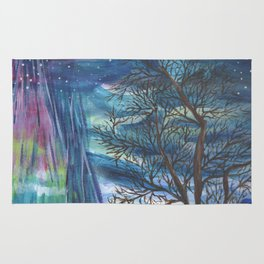 Starry Sky with Aurora Borealis Rug