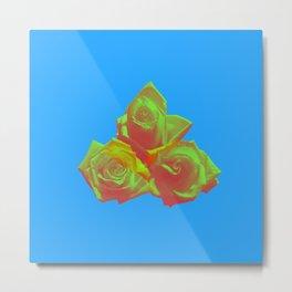 Neon Rose - Triplet - Azure Metal Print