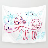 kittens Wall Tapestries featuring SNOW KITTENS by Vanja Cankovic