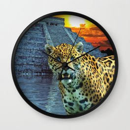 Chichen Itza Temple Guardian - South American Jaguar Wall Clock