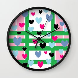 Hearts and Stripes - Pink Green Blue Wall Clock