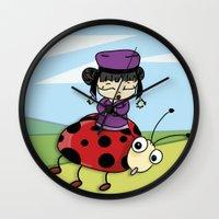 ladybug Wall Clocks featuring Ladybug by flydesign