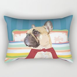 Super Frenchie: French Bulldog in Cape Rectangular Pillow