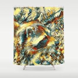 AnimalArt_Raccoon_20180106_by_JAMColors Shower Curtain