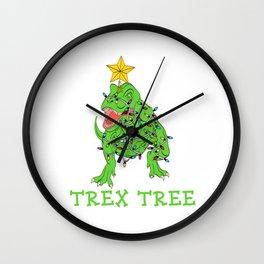 "Christmas Dinosaur Shirt For Animal Lovers ""Trex Tree"" T-shirt Design Jurassic Park Reptiles Wall Clock"