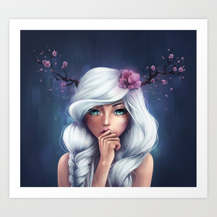 White-haired Girl Art Print