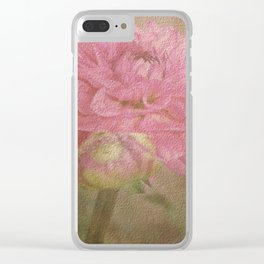 Soft Graceful Pink Painted Dahlia Clear iPhone Case