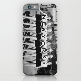 The Girl with New York shirt in a line, lovely girls on the street - mid century vintage photo iPhone Case