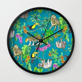 Rainforest Friends - watercolor animals on textured teal Wall Clock