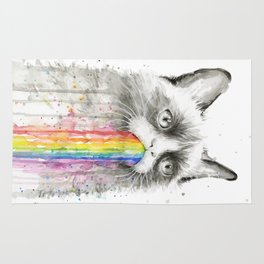 Grumpy Rainbow Cat Watercolor Animal Meme Geek Art Rug