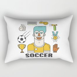 Soccer (football) player with sports elements Rectangular Pillow