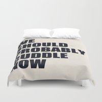 beth hoeckel Duvet Covers featuring We should probably cuddle now by Nicklas Gustafsson