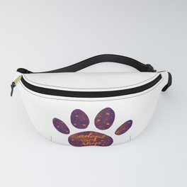 Adopt don't shop galaxy paw - purple and orange Fanny Pack