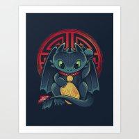 Maneki Dragon Art Print