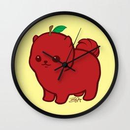 Apple Red Pom de Terrier Wall Clock