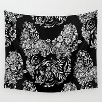 botanical Wall Tapestries featuring Botanical frenchie by Huebucket