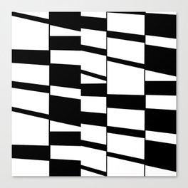 Slanting Rectangles - Black and White Graphic Art by Menega Sabidussi Canvas Print