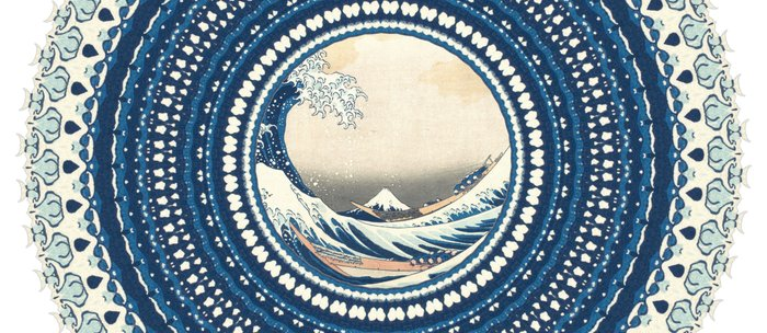The Great Wave off Kanagawa in Mandala Coffee Mug