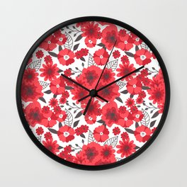 Red flowers pattern 4 Wall Clock